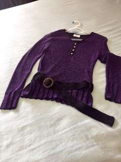 Knitted Long-sleeved Blouse