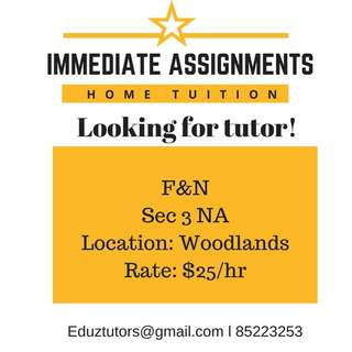 LOOKING FOR F&N TUTOR