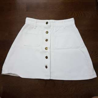 White and Forest Green Button Down Skirts