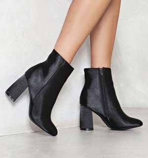 Nasty Gal Moonlight Mike Satin Boots Size 40 Excellent Condition