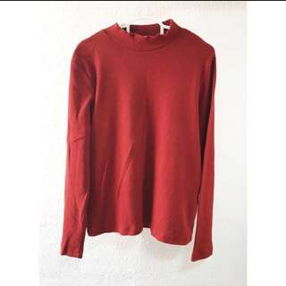 🔥SALE Twin Rivers turtle neck long sleeve coral red top