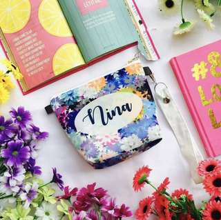 🚚 CUSTOM MAKEUP POUCH COSMETIC BAG floral