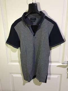 Next Polo Checkers Navy Blue