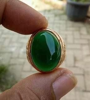 Cincin Batu Ijo Garut Serat Kayu Green Chalcedony
