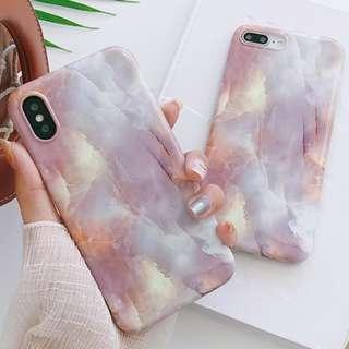 #手機殼IPhone6/7/8/plus/X : 質感大理石紋全包邊軟殼