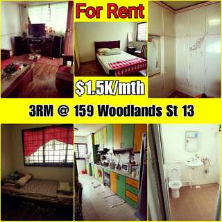 3RM HDB FOR RENT [WOODLANDS]