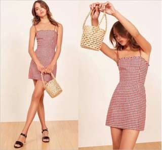 🚚 OshareGirl 05 歐美女士紅白撞色格紋荷葉滾邊連身洋裝連身裙