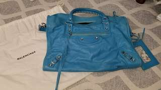 Balenciaga Metallic City Bag Sky Blue