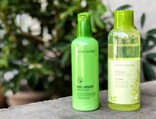 Nature Republic Bee Venom Emulsifier and Fresh Green Tea Toner