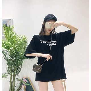 oversize露背t韓版新款小心機鏤空字母印花中長T恤寬鬆短袖上衣