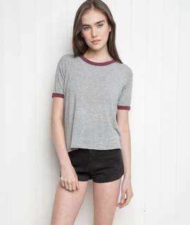 brandy melville nadine top in grey and maroon ringer tips