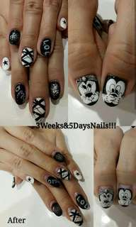 Gel nails Mickey Minnie anime black lines LOL OMG art