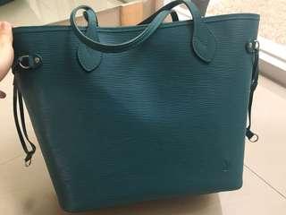 Lv neverfull epi leather kw super biru tas kulit LV