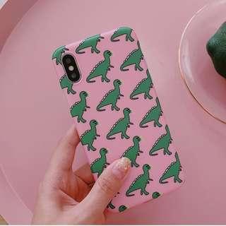 #手機殼IPhone6/7/8/plus/X : 可愛粉底小恐龍全包邊軟殼