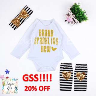 GSS Baby Girl Romper Set A10 –Brand Sparkling New Set 14.90(NOW $12) (includes Romper,Bottom & Headband)