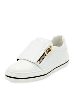 ROGER VIVIER 25MM ZIP-UP LEATHER SNEAKERS
