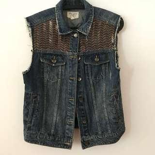 Pull & Bear Denim Sequin Vest
