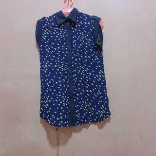 Blue polkadot blouse