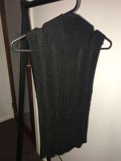 BLACK SHEER HIGH NECK SHIRT