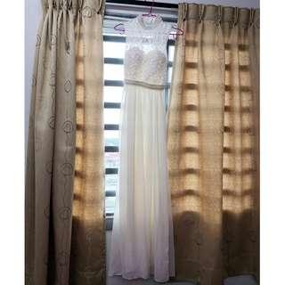 Preloved White Lace Chiffon Long Maxi Wedding Gown Evening Dress Bridesmaid #listforikea
