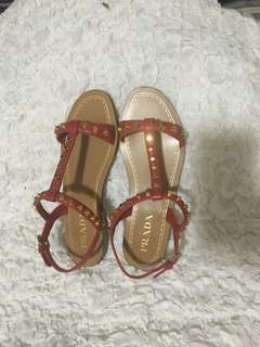 PRADA FLAT STUDDED SANDALS US SZ36