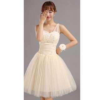 Preloved Champagne Color Sequin Short Bridesmaid Mini Dress #listforikea