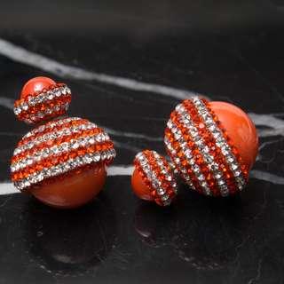 Swarovski earrings with crystal Pearl Earrings 純銀耳環
