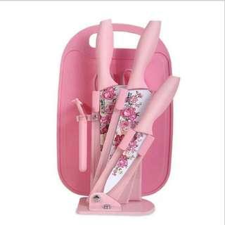 7pcs/Set Roses Ceramic Knife 7件套蔷薇花陶瓷厨房刀具