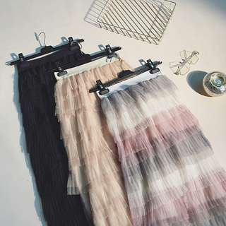 Elastic Rubber Rainbow Multi Layer Tulle Tutu Long Pleated Skirt #listforikea