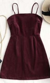 Wine Red Corduroy Dress