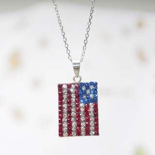 Swarovski crystal pendant, American flag 純銀吊咀