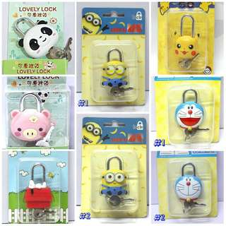 Minion / Pikachu / Panda / Pig / Doraemon / Snoopy PADLOCK