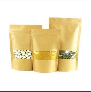 100 pieces 20x30cm Kraft Paper Zipper Ziplock Bag Food Storage Bag With Window