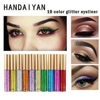 Glitter Eyeliner Waterproof Makeup Eye Liner Pencils Long Lasting Shimmer Liquid Eyeliner Eyeshadow Cosmetics Glitter Eyeliner