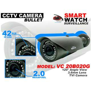 Smart Watch CCTV TVI Camera For Outdoor with 2.0MP Resolution