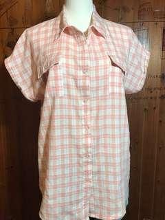 🚚 橘色格子襯衫/L~XL適穿九成新