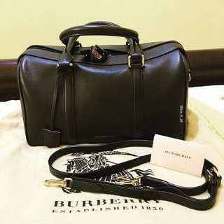 Burberry Black Leather Duffel