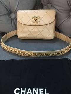 Chanel belt bag beige lambskin ghw with no holo, dustbag and paperbag