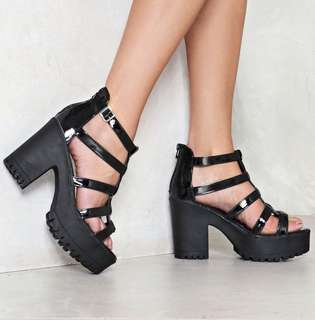 Nasty Gal 'Burn Down The Mission' Platform Sandals Size 41 Brand New in Box