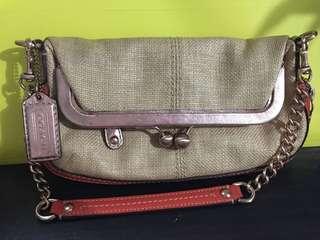Coach Bonnie Leather/Straw Fold Over Shoulder Bag (Rare)