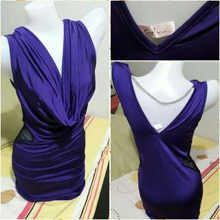 Rage lace side Bodycon violet party dress