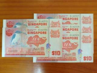 5 nos. Singapore Bird $10 HSS w/Seal Running Number UNC