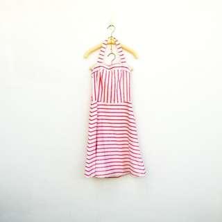 🚚 二手 紅白 條紋 繞頸 露背 棉質 洋裝 明太子 529