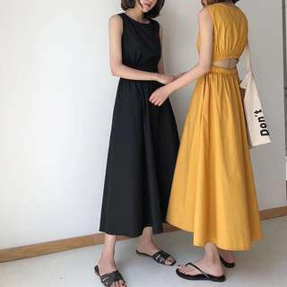 ioz 簡約性感露腰無袖A字連身裙 洋裝