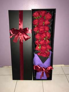 Roses with box gift
