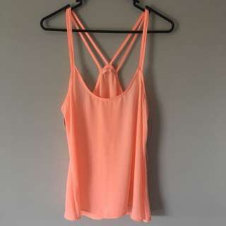 Coral / Pink Singlet Top with double straps