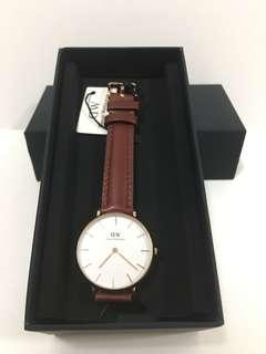 DW女裝啡色皮錶32mm