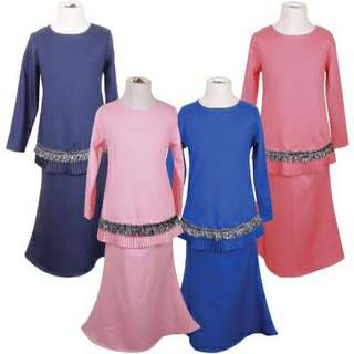 Auliya Heavy Crepe Pleated Kids Baju Kurung