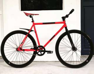"FIXIE 26"" RED BLACK Theme DEADPOOL Coaster Brake Fixed Gear Free Gear Flip Flop Hub 9.5 Kg For Full Bike Only (PM for more details) LEFT LAST 2 ONLY !!!"