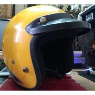 (Sold) Vintage Laser Yellow Fiberglass Helmet